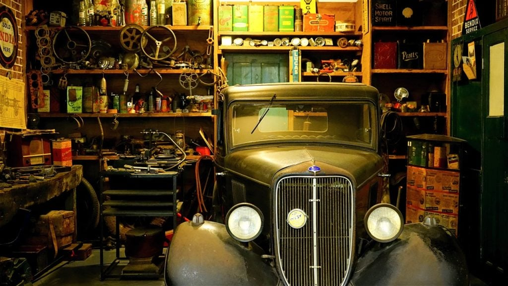 Image of classic car in garage