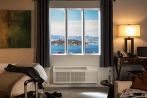 GE PTAC unit in hotel room
