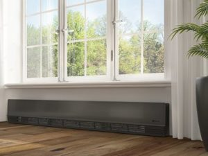 Electric baseboard heater under window